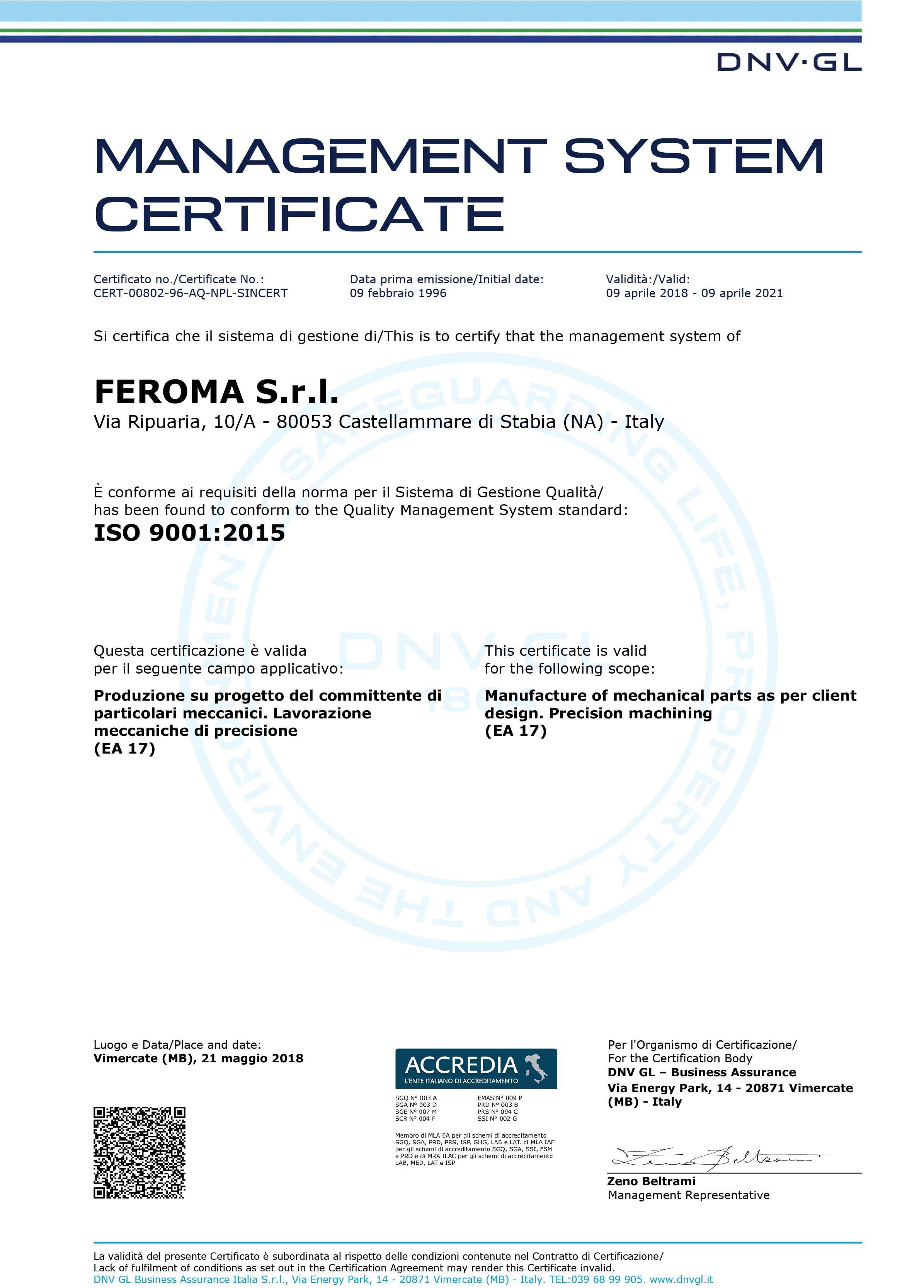 Feroma - Certificazioni
